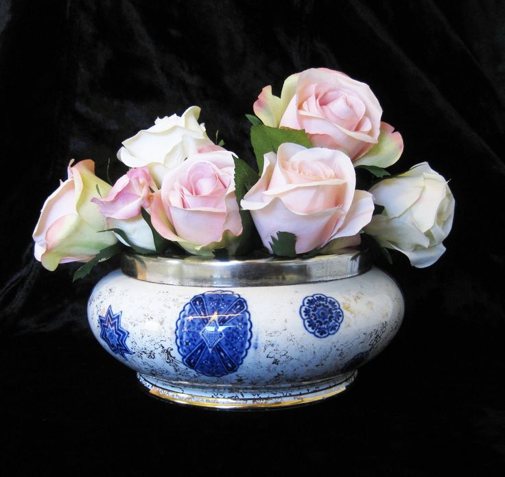 """Antique Minton """"Osaka"""" Bowl or Planter c1873 to c1912, Victorian Flow Blue Bowl with Silver Plated Collar and Floral Chintz Gilding by TheWhistlingMan on Etsy"""