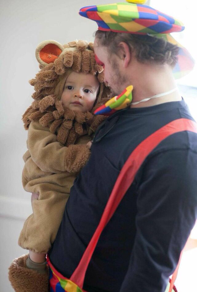 Daddy clown and baby lion Circus party