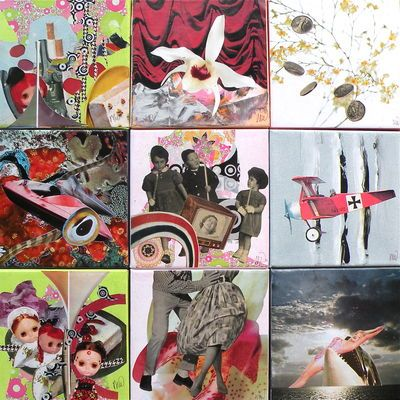 SOLD - Mix 2 - Mix of 9 collages on canvas 60 x 60 cm