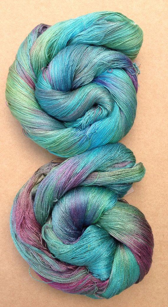 Hand Dyed Silk Yarn, Spun Silk Yarn, Weaving, Lace Knitting,  Lacemaking, 60/2 weight, No.09 Apple, Green, Emerald, Turquoise, Ref.601