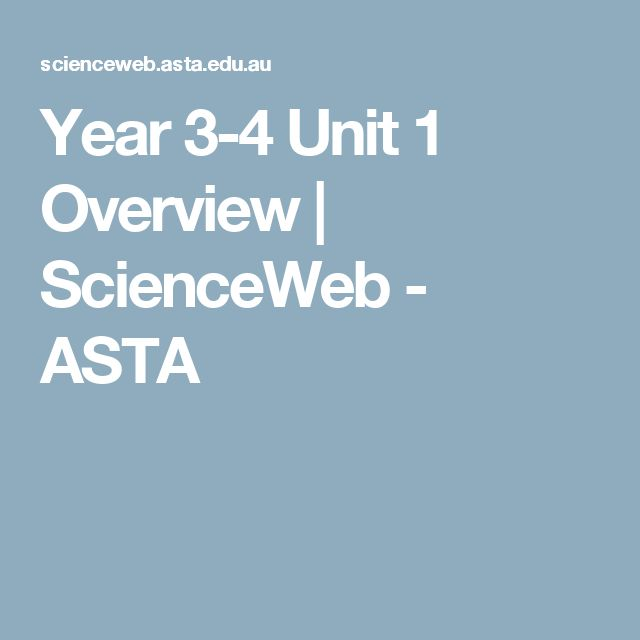 Year 3-4 Unit 1 Overview | ScienceWeb - ASTA