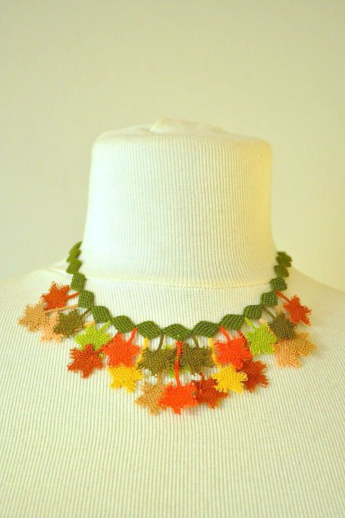 OYA Silk Needle Lace Necklace, Hand made Turkish lace (igne oya) necklace with leaves