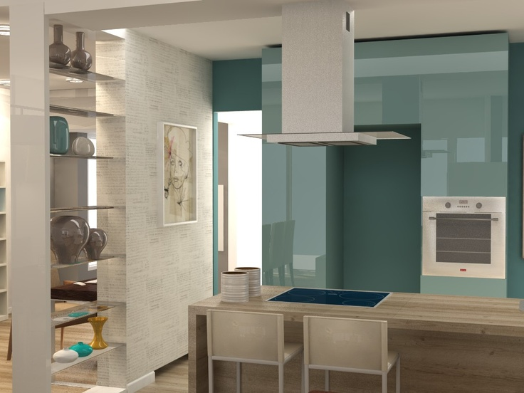 Teal and wood kitchen by Rdeco