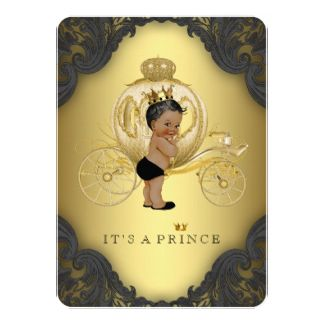 "Black Gold Ethnic Prince Baby Shower 4.5"" X 6.25"" Invitation Card"