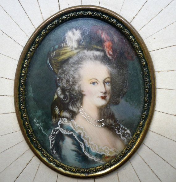 Antique Marie Antoinette Hand painting miniature by bluestyle