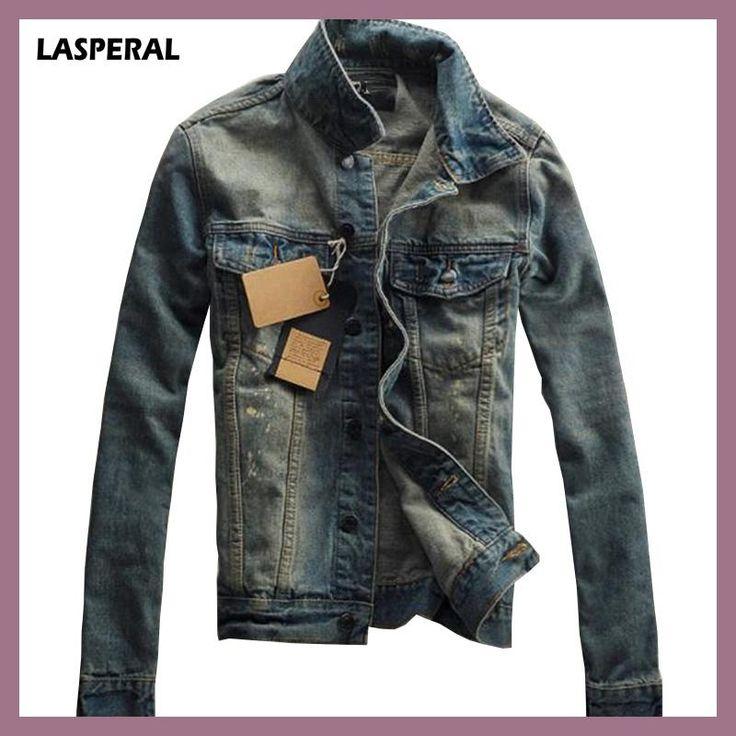 LASPERAL 2017 New Autumn Casual Chaqueta Men Denim Jacket Slim Fit Fashion Turn-down Collar Male Cowboy Jackets Plus Size 3XL