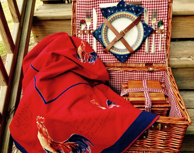 Wedding Gift - Picnic Basket Set - Vintage Wm. Sonoma Rooster Tablecloth - Glamping - Item #PL013 by PicnicLovers on Etsy