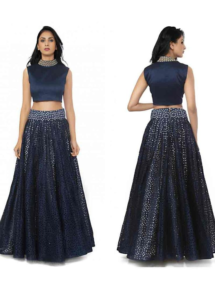 Versatile Midnight Blue Raw Silk Lehenga Choli