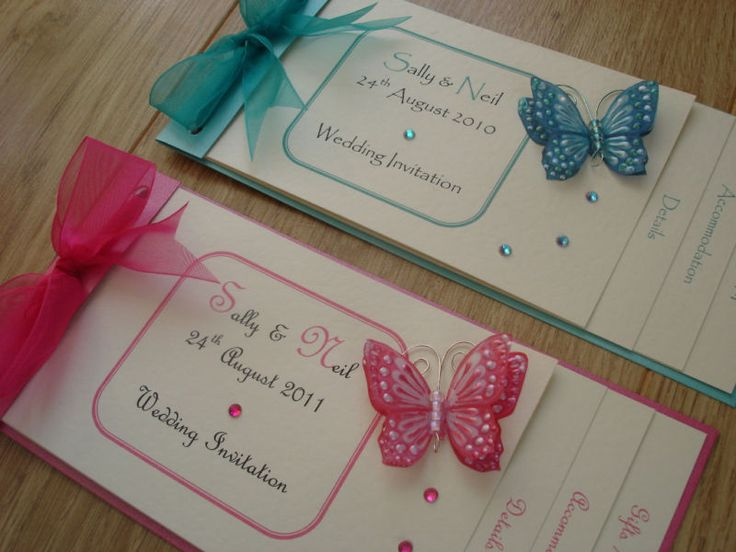 ♥ Handmade wedding invitations CHEQUE BOOK BUTTERFLY single ♥ | eBay