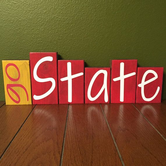 Home Decor Wood Blocks Go State Iowa State Cy by 417designsIA