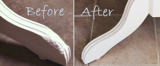 Learn how to quickly repair chewed or chipped wood! Our farmhouse table had chewed legs which I repaired with Kwikwood!