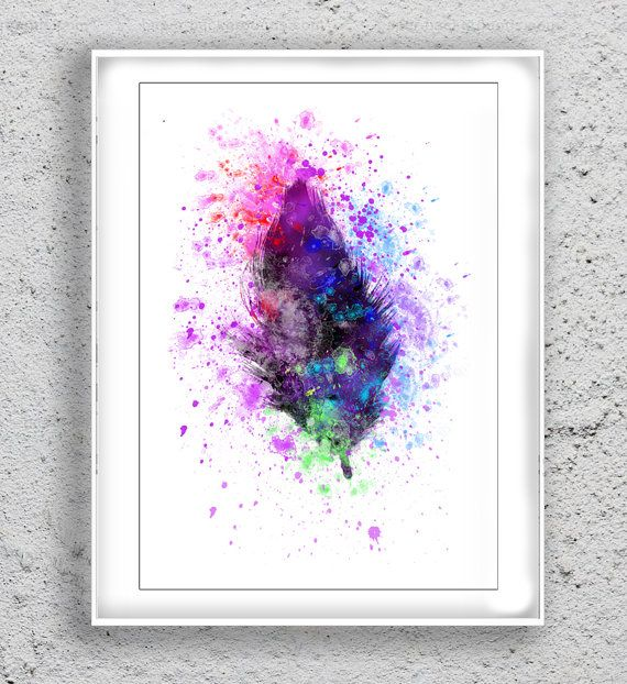 Watercolor Feather Art Print Art Print by MulticolourArt on Etsy