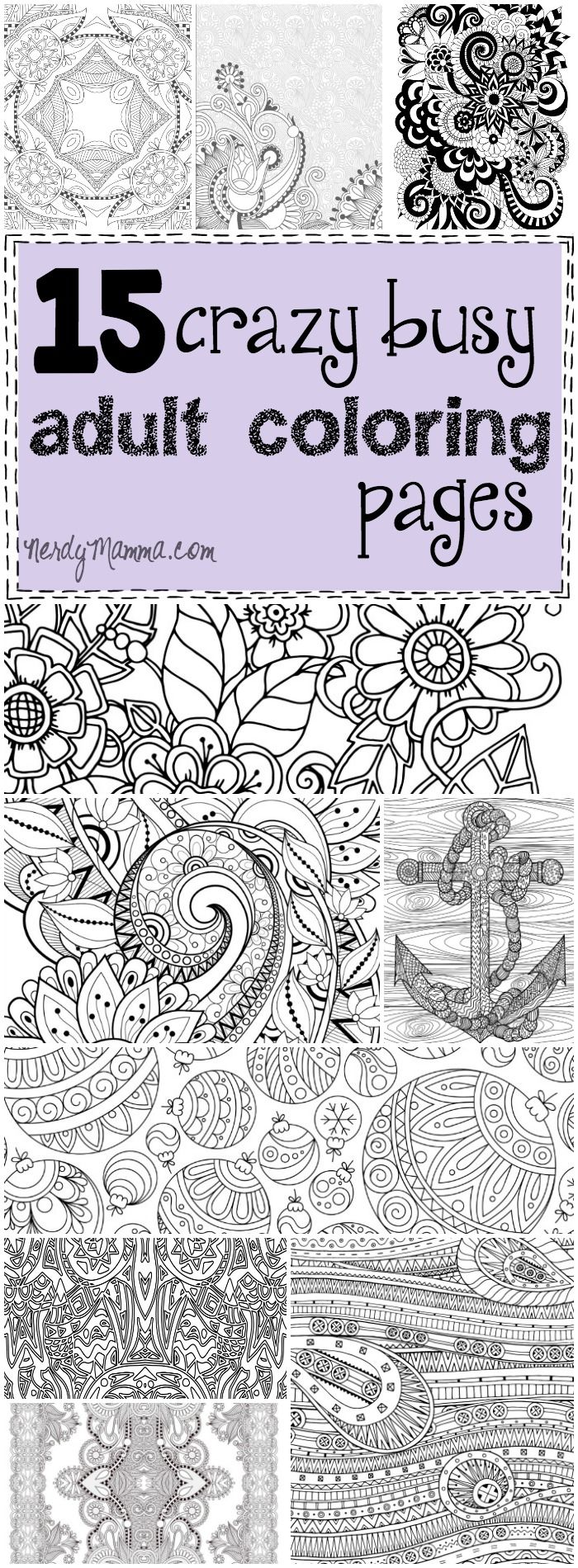 These 15 crazy busy adult coloring pages are so awesome. I love coloring!