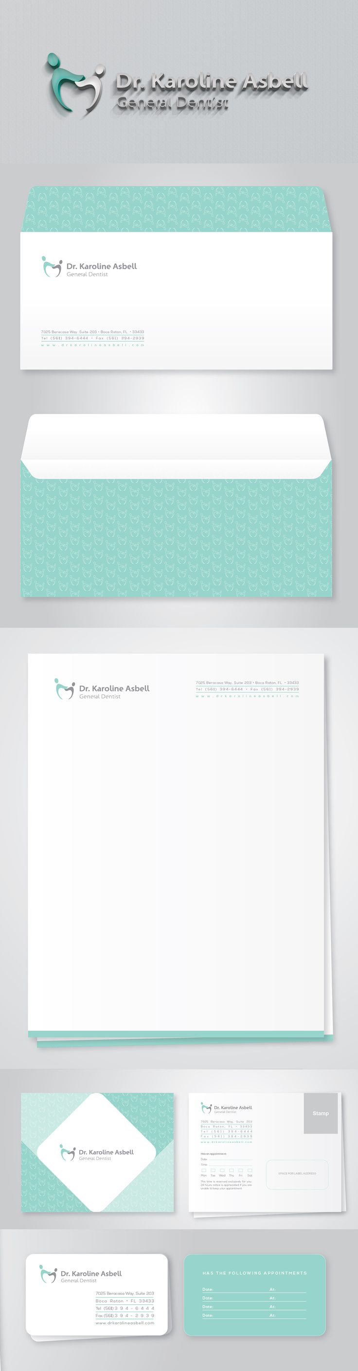 Logotipo e papelaria - Consultório Dentário Logotype and Stationery - Dental Office