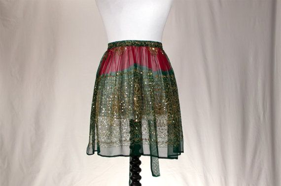ANUPAMA - Beautiful Eastern Red and Green Batik Printed Chiffon Hostess Half Apron with Extensive Sequin Embroidery on Etsy, $48.69
