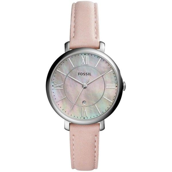 Fossil Fossil Jacqueline Silver Tone Case Nude Leather Strap Ladies... (160 CAD) ❤ liked on Polyvore featuring jewelry, watches, buckle jewelry, bezel watches, water resistant watches, fossil watches and leather strap watches