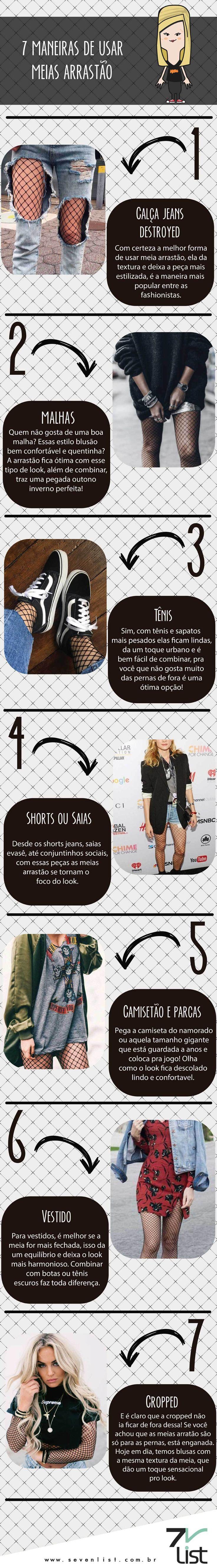 dicas para arrasar com a sua meia-arrastão! use com saia, shorts, tênis ou casacões e vráááá! veja sempre mais em http://www.deatwilightzone.com.br/