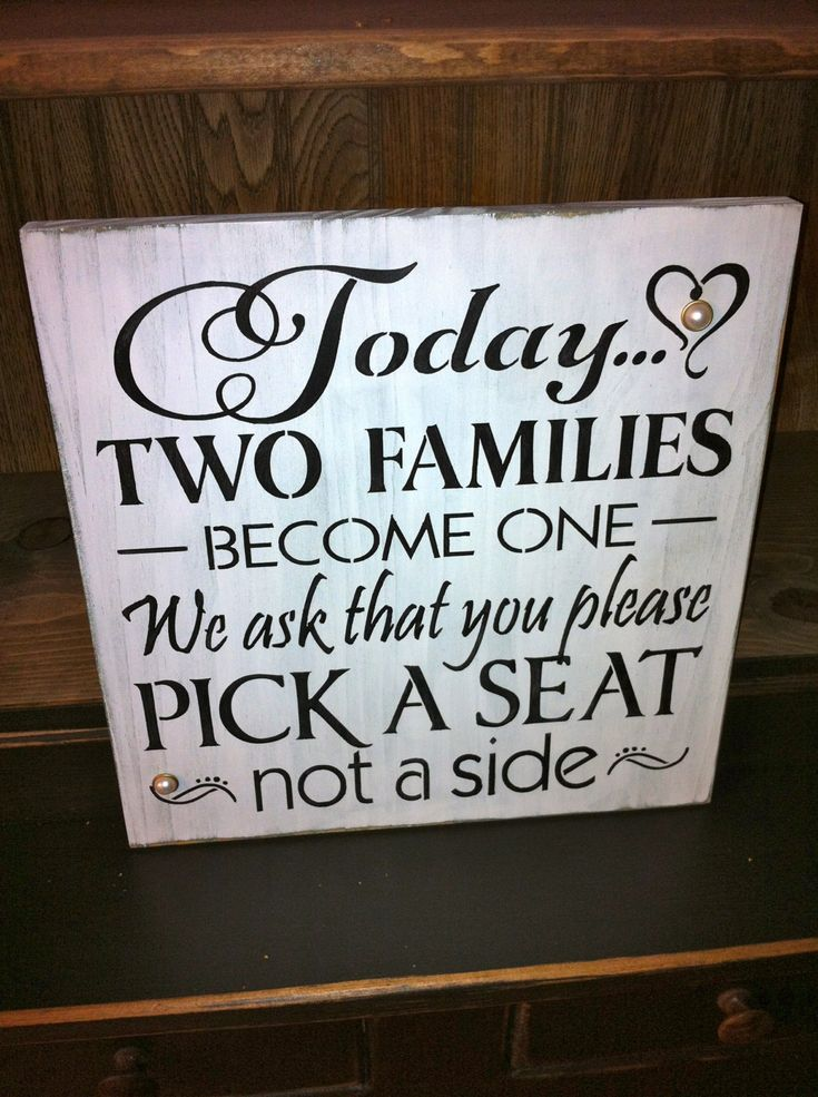 Primitive Rustic Wedding Seating Sign-Today Two Families Become One. $20.00, via Etsy.