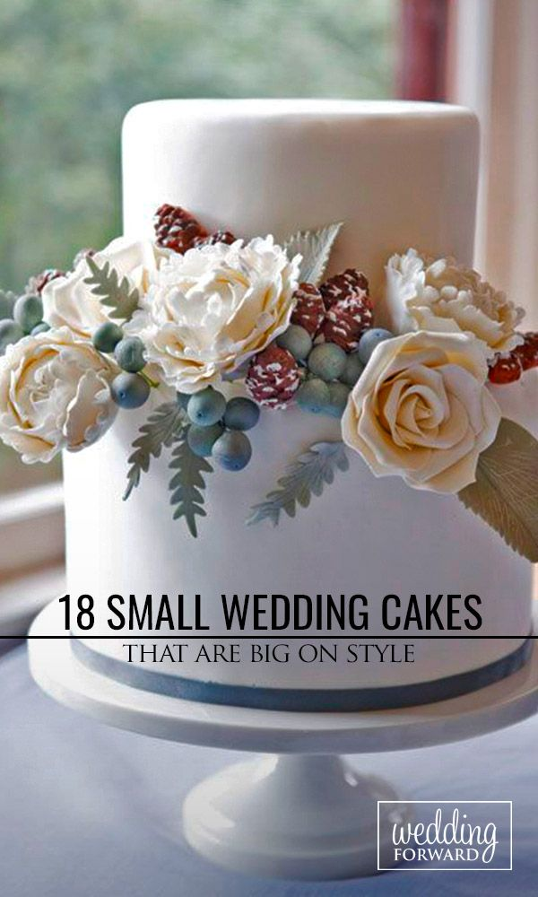 18 Small Wedding Cakes With Big Style ❤ See our gallery of small wedding cakes and catch new fresh ideas See more: http://www.weddingforward.com/small-wedding-cakes/ #weddings #cakes