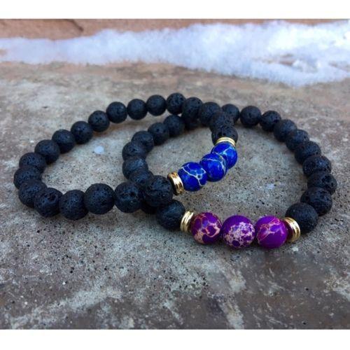 Couples-Bracelet-Lava-Stone-Sea-Sediment-Jasper-Yoga-Beaded-Elastic-Bracelet