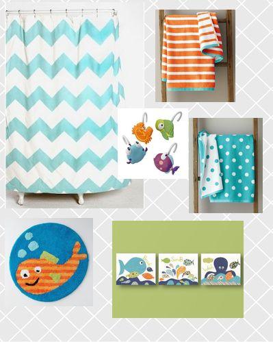 Kid bathroom - like the orange striped towels (garnet hill) with the teal...