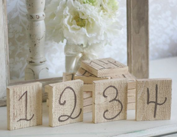 Shabby Chic Table Numbers Rustic Wedding SET of 20 by braggingbags, $80.00