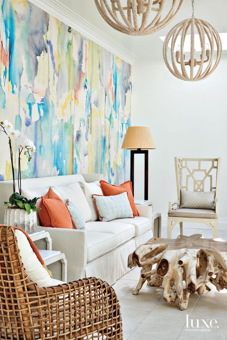 A Sea Island Retreat Embraces A Prism Of Colors Luxe Interiors Design In 2020 Interior Design Living Room Designs Tropical Interior Design