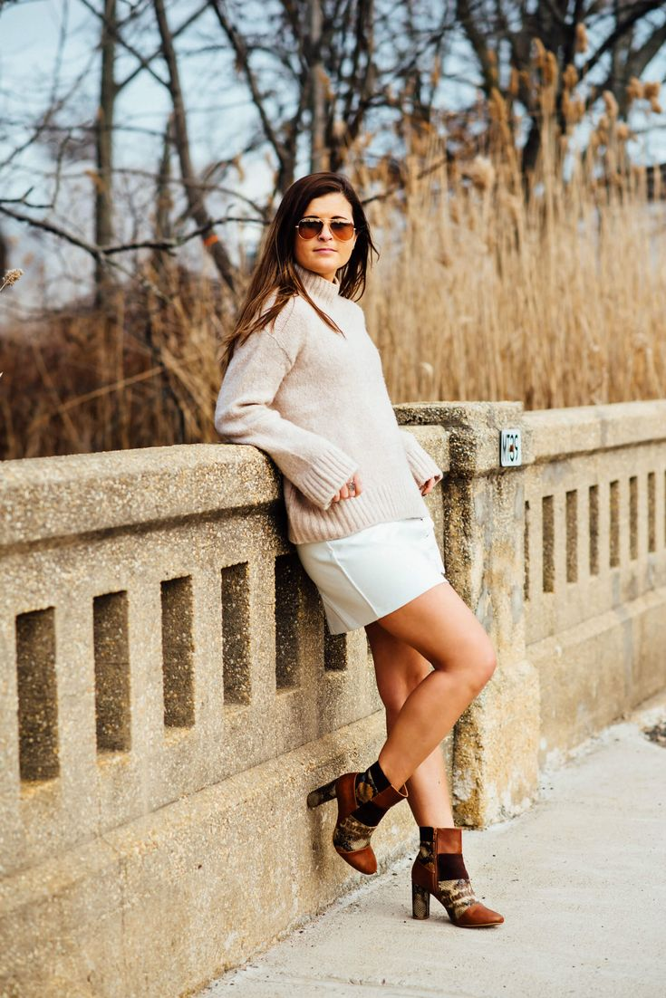 Bare With Me | My Self-Tanning Secret Weapon - Snakeskin Boots, #Monochromatic, Oversized Sweater, Beige Outfit, Leather Skirt, Tilden of To Be Bright