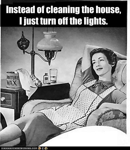 LOL! When I have friends over, I turn on low lamps instead of overhead lights--gives illusion my house is cleaner!