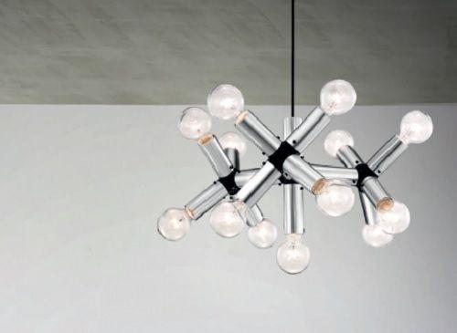 Φωτιστικό σαλονιού #μοντέρνο, #κρεμαστό από αλουμίνιο σε ασημί χρώμα. Στο σχεδιασμό της δομής του ατόμου και έχει υποδοχές για 13 λαμπτήρες Ε27. Για μεγαλύτερη οικονομία στην κατανάλωση ενέργειας προτείνουμε να επιλέξετε λαμπτήρες #LED: http://kourtakis-lighting.gr/35-lamptires-led-E27
