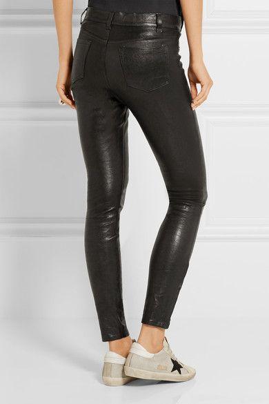J Brand - 8001 Leather Skinny Pants - Black - 30