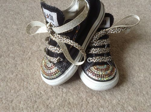 Customised Infant Size 7 Crystal Bling Converse All Stars