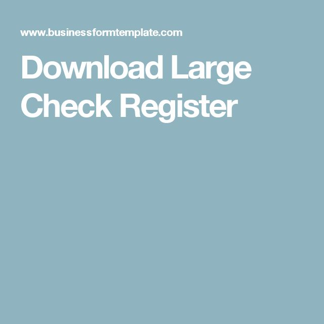 Download Large Check Register
