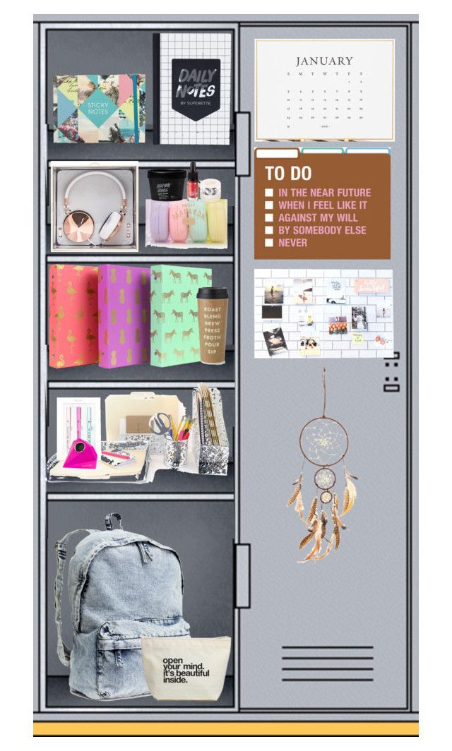 """""""my locker"""" by annieanne-tumblr13 ❤ liked on Polyvore featuring interior, interiors, interior design, home, home decor, interior decorating, Sugar Paper, H&M, Kate Spade and Frends"""