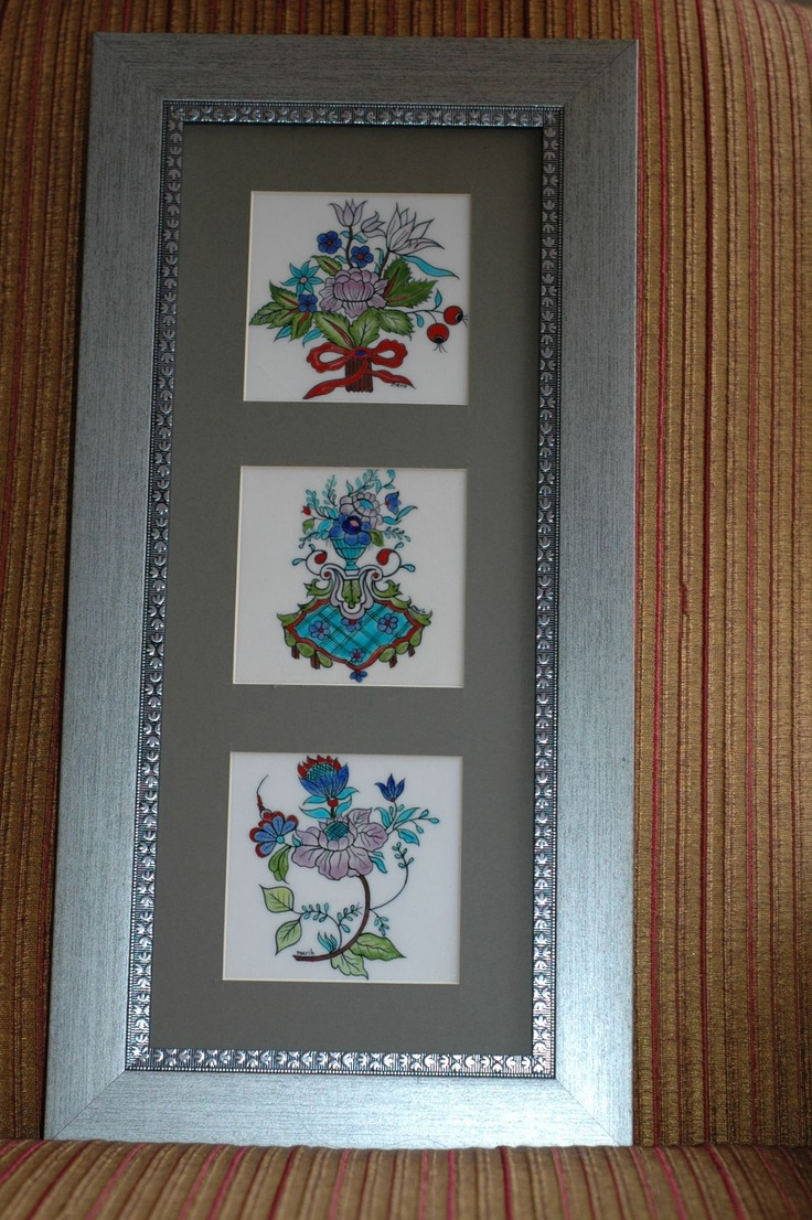Seramic tiles of three buckets, framed (üçlü pano) 10cm x 10cm