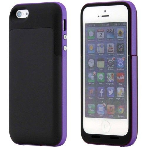 DrHotDeal - 2 Pc External Rechargeable 2500mAh Backup Battery Hard Shell Case Back Cover For iPhone® 5 5S - Black, Purple - Black, Purple - Larger Front