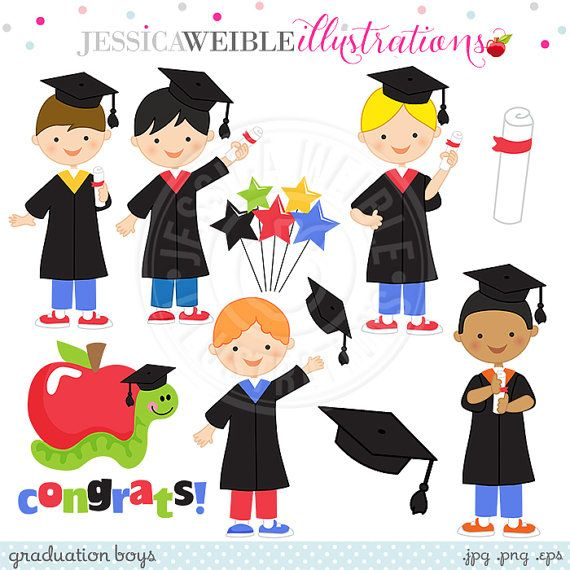 Graduation Boys Cute Digital Clipart Graduation by JWIllustrations