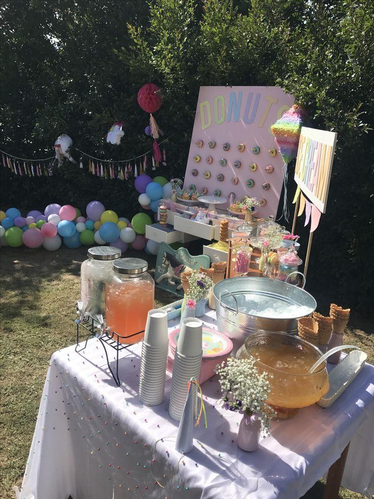 Rainbow unicorn party. Organic balloon garland. Donut wall