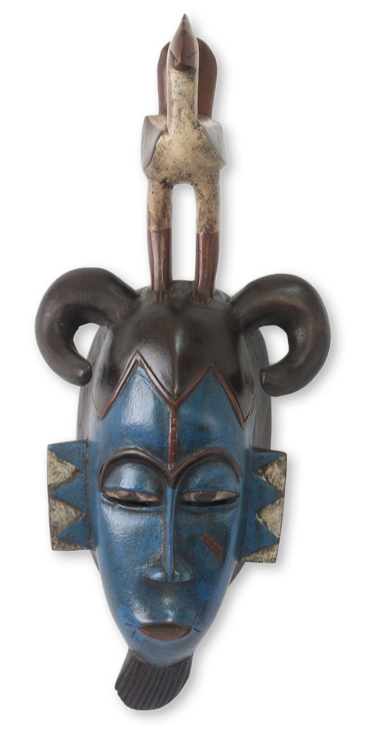 Salihu Ibrahim Guro Rooster Blue African Mask with Bird Wall Decor