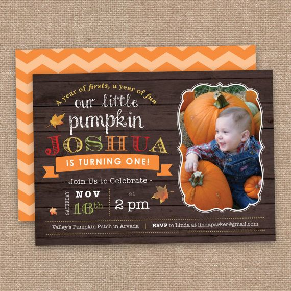 Fall First Birthday Thank You Cards Wood and by JessicasInvites