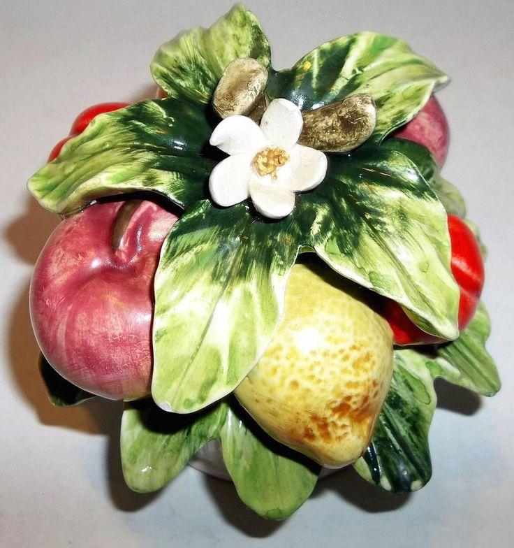 Vintage Sorrento Arnart Fruit Flower Basket Ceramic 33/156  Made in Japan