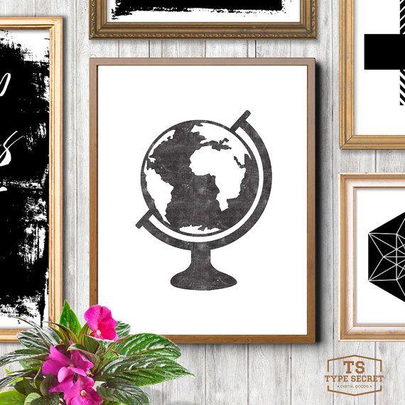 Globe, black and white, affiche, scandinavian print, nordic design, minimalist art, world map, world prints, scandi home, earth
