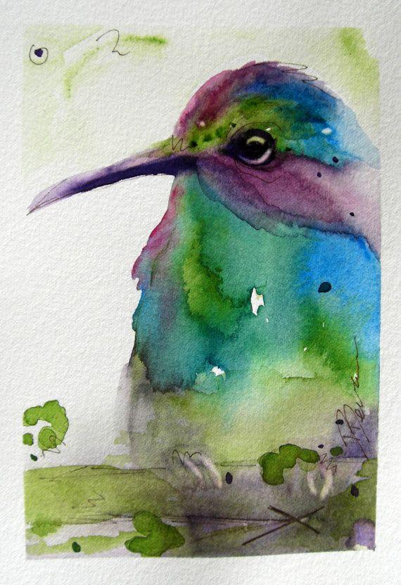 Hummingbird Watercolor Art Print by RedbirdCottageArt on Etsy