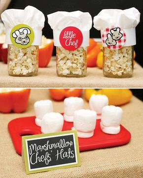 Cute little Chef inspired dessert table. Cute idea would be to have a chef theme birthday party with baking and cooking activities.