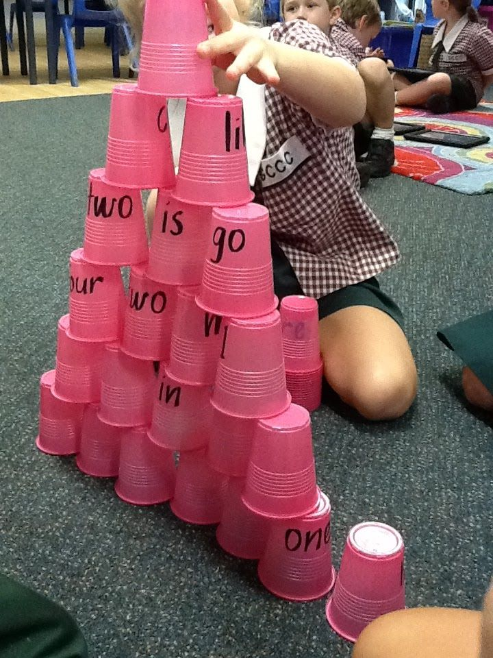 Tower of Power.  Write sight words on plastic cups for reading and construction all at once! Love, Laughter and Learning in Prep!