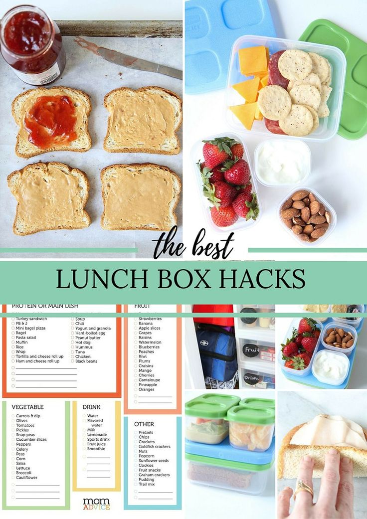 The Best Lunch Box Hacks from MomAdvice.com for kids. Check out this idea for bento boxes (the ice packs are built in)  & an easy recipe to freeze sandwiches early to also double as ice packs. This diy tutorial comes complete with a free printable to keep