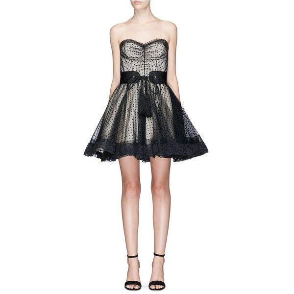 Marc Jacobs Belted polka dot tulle layered strapless corset dress ($995) ❤ liked on Polyvore featuring dresses, black, tulle dress, tulle prom dress, strapless corset, corset cocktail dress and tulle cocktail dresses