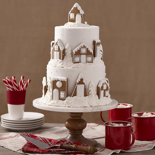 Snowy Gingerbread House or Village Cake Fondant Christmas Holiday Wedding Cookie Can be more colorful too