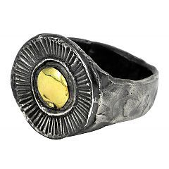 Gold Circle ring in sterling silver and gold - $320 http://www.lordcoconut.com/shop/circle-ring/