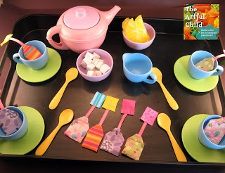 DIY tea bags sugar cubes and lemon slices for children's tea sets..so cute and simple!